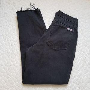 Vintage 80s mom jeans distressed black denim 4 27